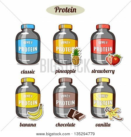 Plastic jars with whey protein of different taste on white background. Sport nutrition. Vector illustration.