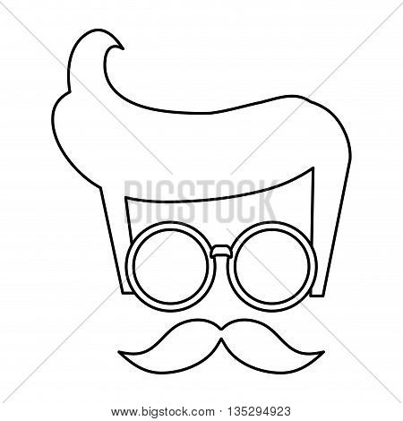 hipster styled hair with glasses and mustache vector illustration