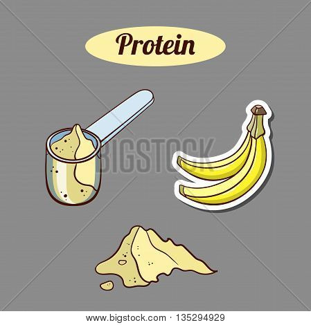 Plastic scoop with banana protein powder on gray background. Sport nutrition. Vector illustration.