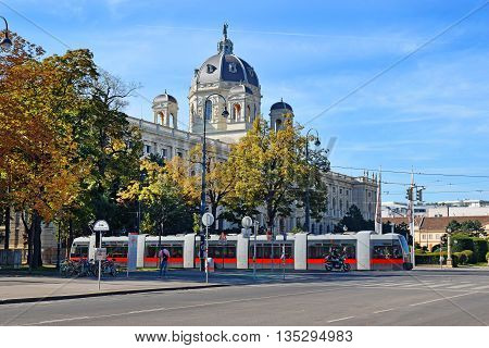 Vienna, Austria- 30 August, 2015 : urban landscape with a tram and  Museum of Natural History (Naturhistorisches Museum) in Vienna on 30 August in Vienna, Austria opened in 1889, was built for collections of natural exhibits Habsburg