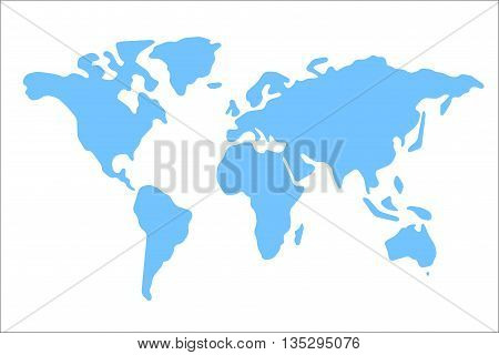 World map vector illustration. World map on white background. World map on isolated background. Stylized world map. Simplified world map. Generalized world map. World map round corners.