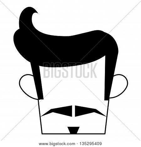 man with hipster haistyle and mustache vector illustration