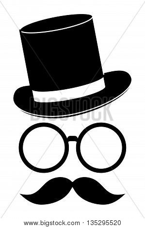 classic hat with glasses and full mustache vector illustration
