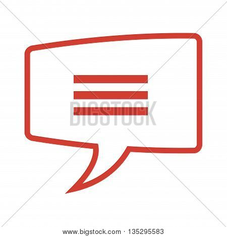 red rectangle conversation bubble with three lines in the center vector illustration