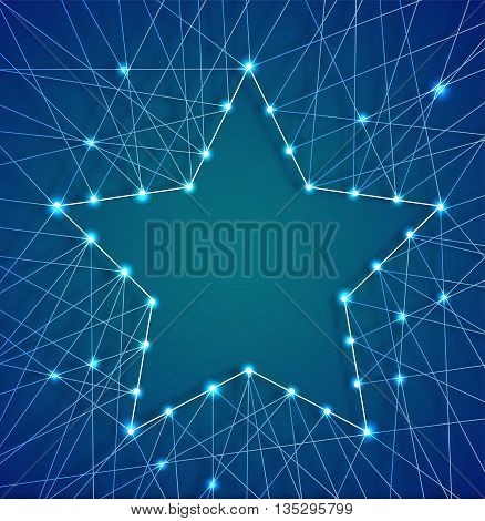 Decorative card for the holiday Christmas and new year. Christmas star of luminous garlands, threads and nails. Vector illustration.