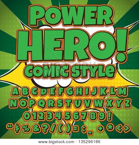 Comic green alphabet set. Letters, numbers and figures for kids' illustrations.