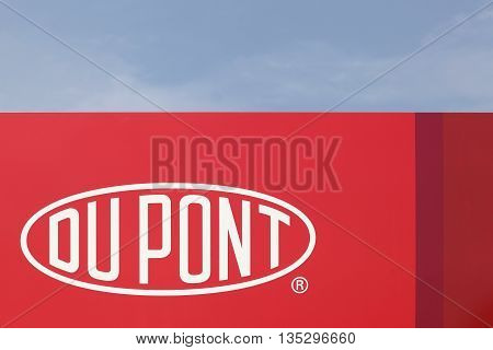 Haderslev, Denmark - May 29, 2016: Du Pont sign on a panel. DuPont is one of America's most innovative companies and it is an American chemical company.