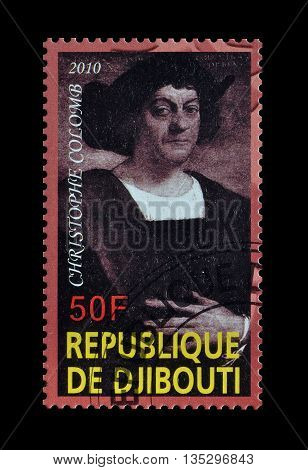 DJIBOUTI - CIRCA 2010 : Cancelled postage stamp printed by Djibouti, that shows Cristophe Colomb.