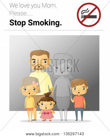 Family campaign mommy stop smoking , vector, illustration