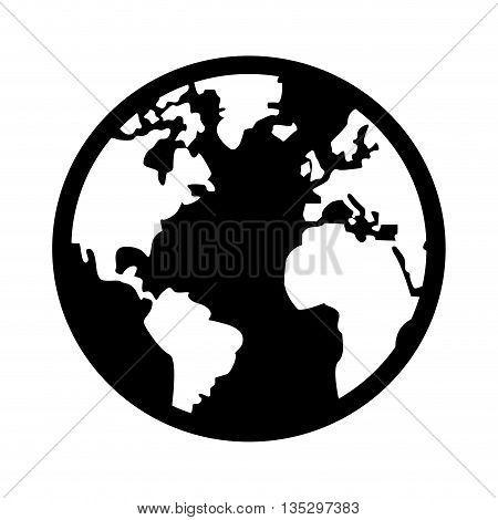 black and white earth globe with distinction between land and sea vector illustration