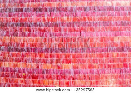 waterfall on colored tiles in red and orange colors
