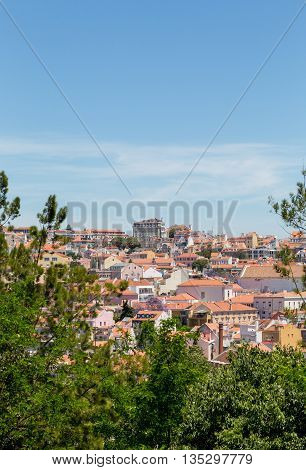 details and view of european city lisboa portugal in sunday