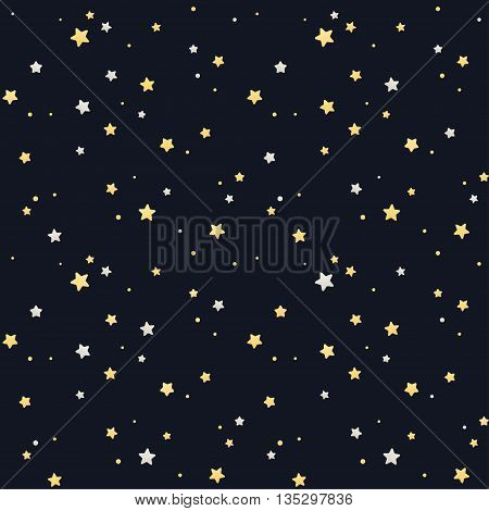 Seamless star pattern. Silver and golden stars on black background. Tileable vector texture.