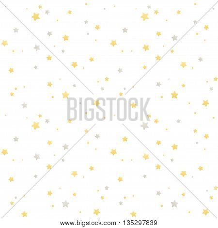 Seamless star pattern. Silver and golden stars on white background. Festive vector texture.