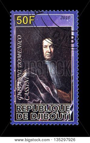 DJIBOUTI - CIRCA 2010 : Cancelled postage stamp printed by Djibouti, that shows Domenico Cassini.