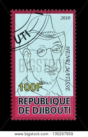 DJIBOUTI - CIRCA 2010 : Cancelled postage stamp printed by Djibouti, that shows Henri Matisse.