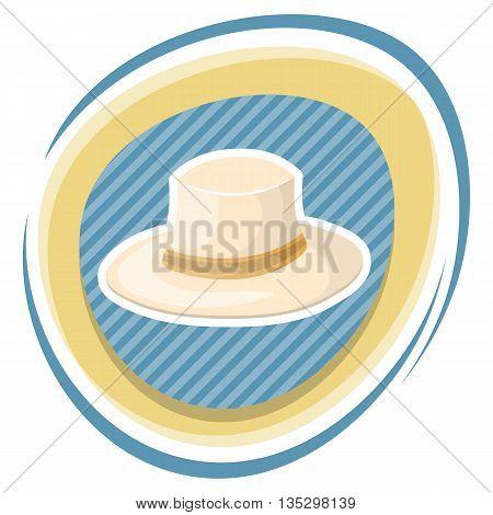 White hat cartoon icon. Vector illustration in cartoon style