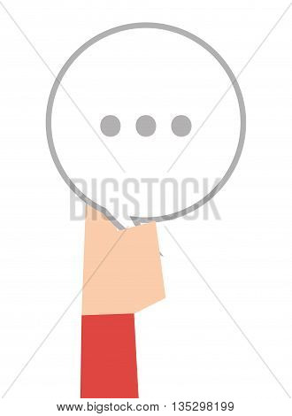 hand holding white round conversation bubble with three dots vector illustration