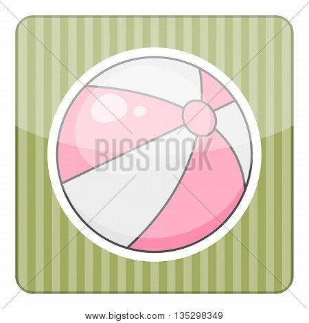 Beach ball colorful icon. Vector illustration in cartoon style