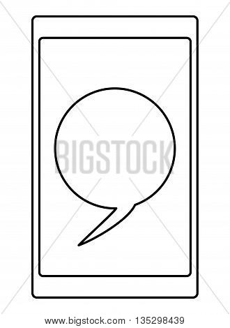 cellphone with conversation round bubble on screen vector illustration