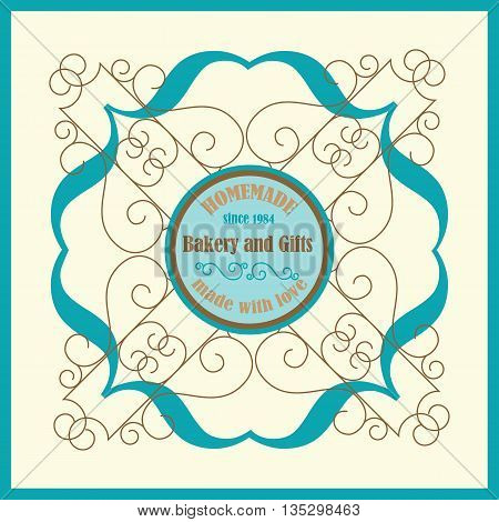 Hand Made Bakery Logo with Florish Frame and Vingae Border