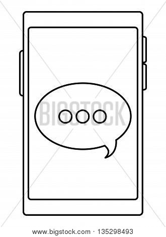 cellphone with round conversation bubble on screen vector illustration