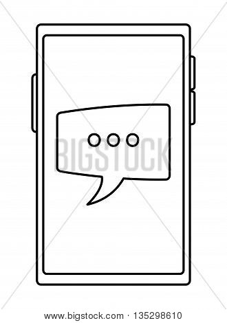 cellphone with square conversation bubble on screen vector illustration