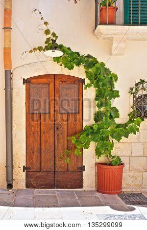 Wooden door. Alleyway of Turi. Puglia. Italy.
