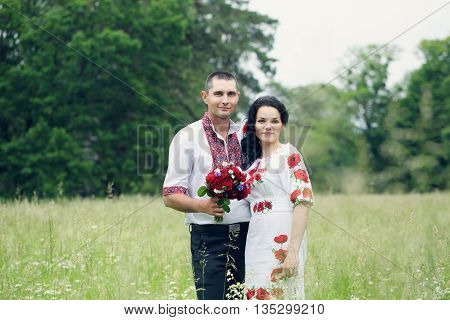 Groom and bride on the wedding in the Ukrainian style