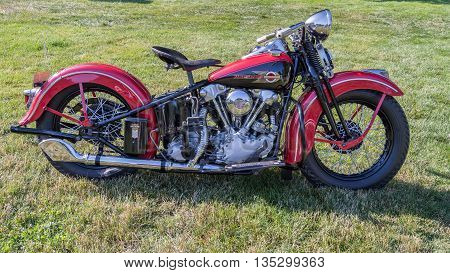 GROSSE POINTE SHORES MI/USA - JUNE 19 2016: A 1939 Harley-Davidson Knucklehead motorcycle at the EyesOn Design car show, held at the Edsel and Eleanor Ford House, near Detroit, Michigan.