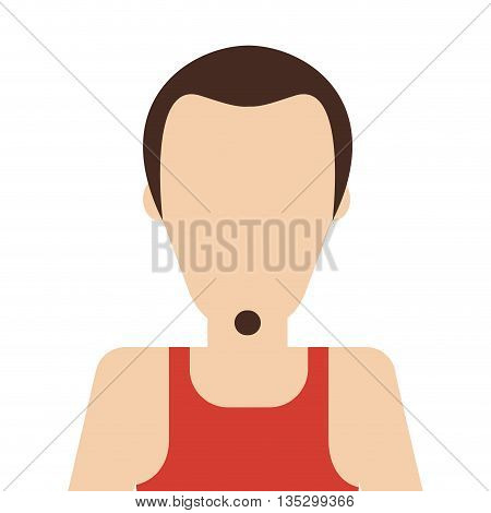 caucasian man with small beard and red sleeveless top vector illustration