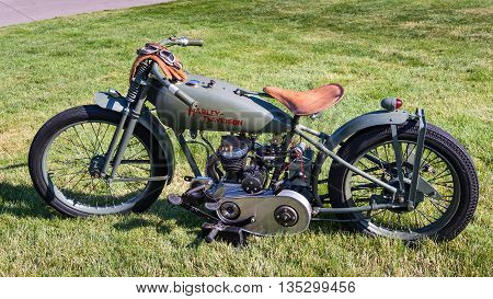 GROSSE POINTE SHORES MI/USA - JUNE 19 2016: A 1926 Harley-Davidson FL