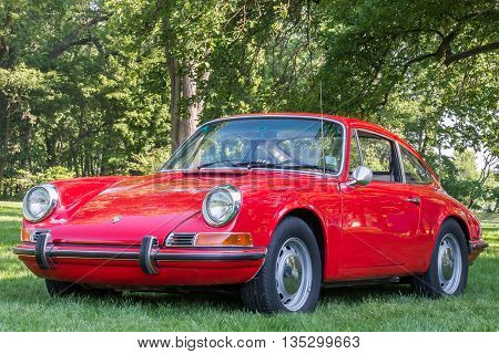 GROSSE POINTE SHORES MI/USA - JUNE 19 2016: A 1965 1969 Porsche 912 at the EyesOn Design car show, held at the Edsel and Eleanor Ford House, near Detroit, Michigan.