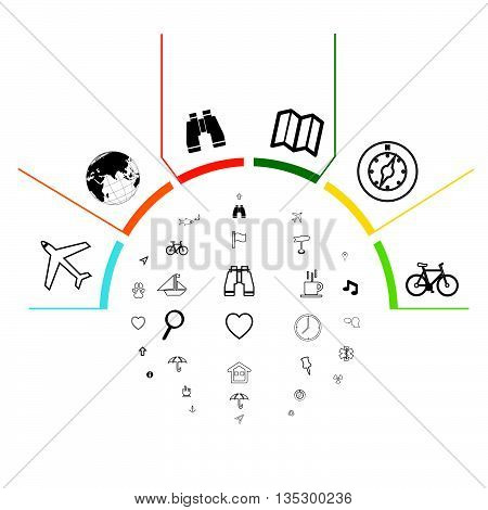 Navigation Infographic vector.Infographic colored steps.infographics navigation template for presentation.Vector infographic composition.Modern Design template.