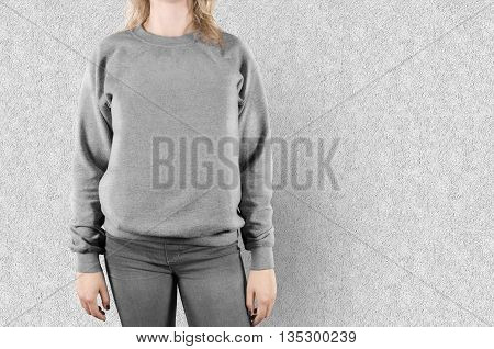 Blank sweatshirt mock up isolated. Female wear plain hoodie mockup. Empty hoody design presentation. Clear loose overall model. Pullover ready for print. Man clothing hood template. Sweater t shirt.