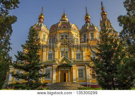 Zenkov Cathedral located in Panfilov Park, in Almaty, Kazakhstan.