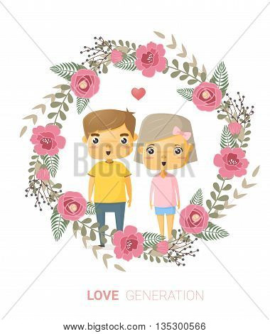 Love generation greeting card , vector, illustration