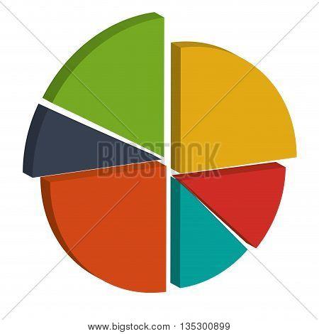 3d colored diagram cake vector illustration flat style design
