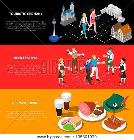 Touristic germany isometric national flag banners background poster with sightseeing beer festival and cuisine abstract vector illustration