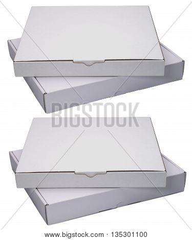 Two flat white cardboard boxes. Isolated on white background. With shadow and without.