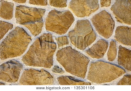 Sandstone Rubble Rock Mortar Wall Closeup