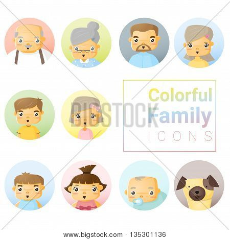 Set of colorful family icons, vector, illustration