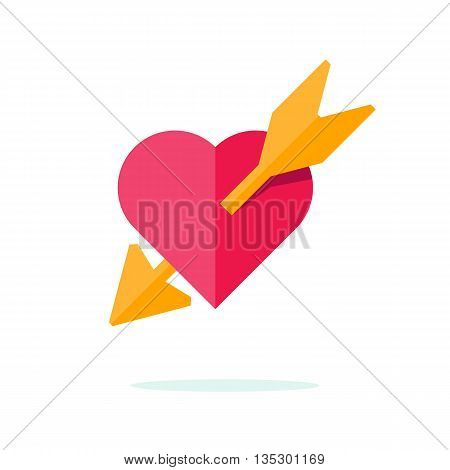 Happy Valentine day icon in flat minimalistic style