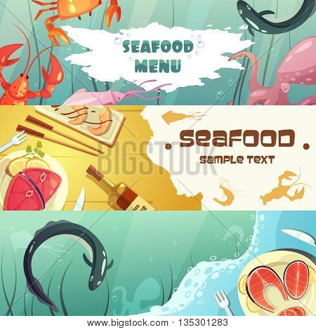 Color horizontal banners seafood menu with title depicting sea inhabitants and seafood meal vector illustration