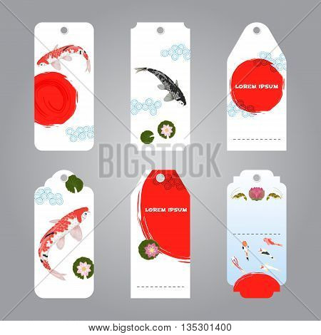 Vector of koi carp and sun japanese style label tags for sale and gifts