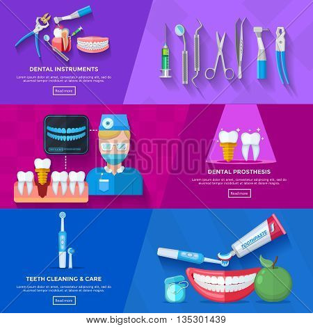 Horizontal flat banner dentist depicting instruments for teeth treatment procedure of dental prosthesis and care isolated vector illustration