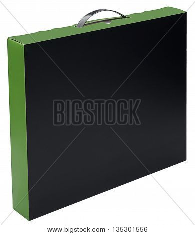 Flat black and green cardboard box with handle Isolated on the white background. No shadow. In vertical situation.
