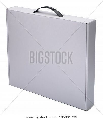 Flat white cardboard box with handle. Isolated on the white background with shadow. In vertical situation.