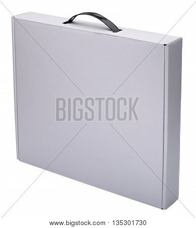 Flat white cardboard box with handle. Isolated on the white background no shadow. In vertical situation.