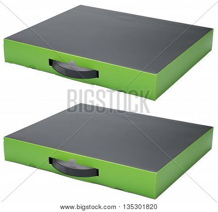 Flat black and green cardboard box with handle. Isolated on the white background with shadow and without. In horizontal situation.